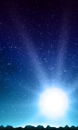 starfield: Night sky with stars. Abstract vector background with mountain landscape and sky with stars. Glow of rising sun over the mountains. Morning on distant planet. Sparkles of alien stars. Illustration