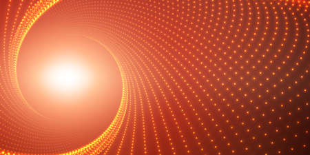 starfield: Vector infinite round twisted tunnel of shining flares on red background. Glowing points form tunnel. Abstract cyber colorful background. Elegant modern geometric wallpaper. Shining points swirl.