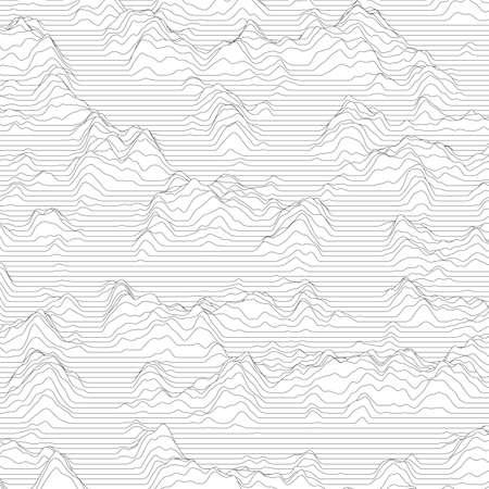 Vector d'arrière-plan rayé. Des ondes de lignes abstraites. L'oscillation des ondes sonores. Des lignes ondulées enroulées. Texture ondulée élégante. Distorsion de surface. Monochrome. Contexte en niveaux de gris.