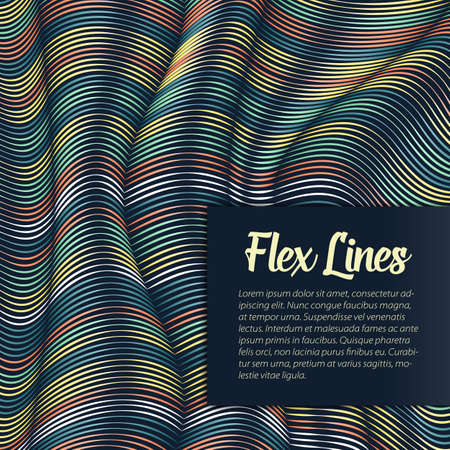 interlace: Vector warped lines background. Flexible stripes twisted as silk forming volumetric folds. Colorful stripes with variable width. Modern abstract creative backdrop.