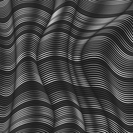Vector warped lines background. Flexible stripes twisted as silk forming volumetric folds. Grayscale stripes with variable width. Modern abstract creative backdrop. Illustration