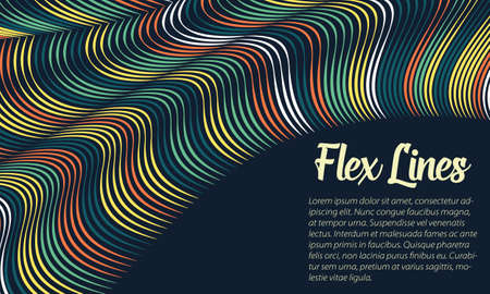 variable: Vector warped lines background. Flexible stripes twisted as silk forming volumetric folds. Colorful stripes with variable width. Modern abstract creative backdrop.