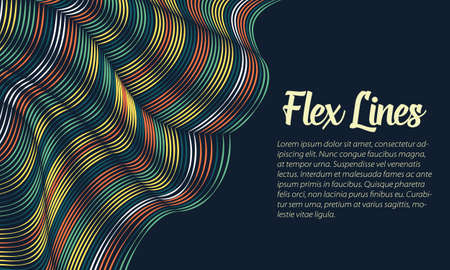 벡터 뒤틀린 된 라인 배경입니다. 유연한 줄무늬가 실크를 형성하여 볼륨 트위스트를 만듭니다. 가변 너비와 다채로운 줄무늬입니다. 현대 추상 창조 일러스트