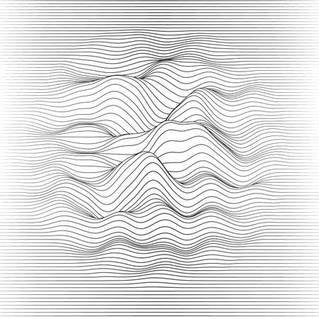 Vector striped background. Abstract line waves. Sound wave oscillation. Funky curled lines. Elegant wavy texture. Surface distortion. Monochrome. Grayscale backdrop.