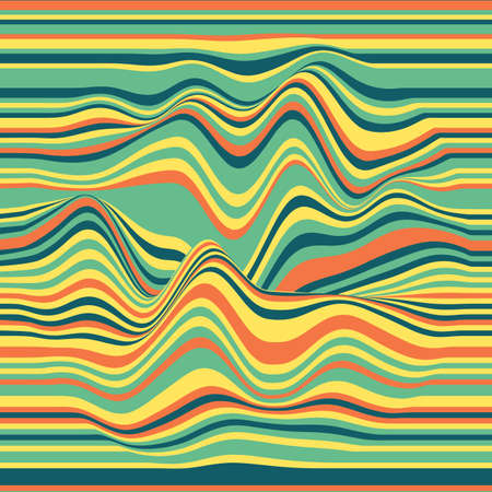 oscillation: Vector striped background. Abstract color waves. Sound wave oscillation. Funky curled lines. Elegant wavy texture. Surface distortion. Colorful background. Illustration
