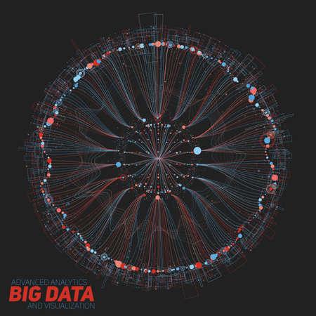 大きなデータの可視化をラウンドします。未来的なインフォ グラフィック。情報の審美的なデザイン。視覚的なデータの複雑さ。複雑なデータの可視化したスレッドします。ソーシャル ネットワークの表現。抽象的なグラフ。 写真素材 - 76173003