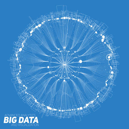 Big data round visualization. Futuristic infographic. Information aesthetic design. Visual data complexity. Complex data threads graphic visualization. Social network representation. Abstract graph.