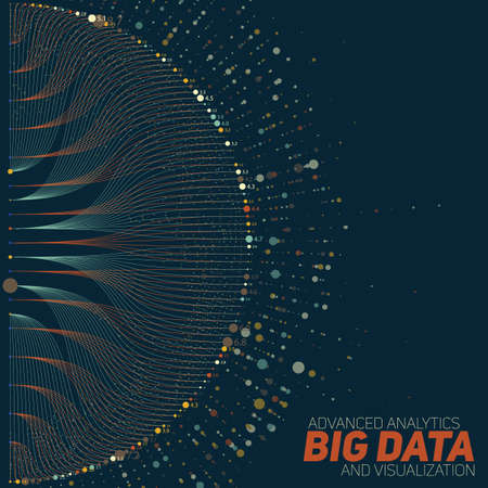 Big data visualization. Futuristic infographic. Information aesthetic design. Visual data complexity. Complex data threads graphic visualization. Social network representation. Finance graph.