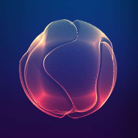 Esfera de malla colorido vector abstracto sobre fondo violeta oscuro. Tarjeta de estilo futurista. Fondo elegante para presentaciones de negocios. Esfera de punto corrupto. Estética del Caos