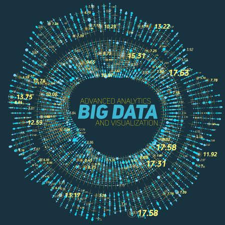 Big data circular visualization. Futuristic infographic. Information aesthetic design. Visual data complexity. Complex data threads graphic visualization. Social network representation. Abstract graph Illustration