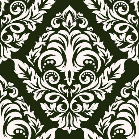 ダマスク ベクターのシームレスなパターンの要素。クラシックな古い旧式ダマスク飾り、ロイヤル ビクトリア朝シームレスなテクスチャー壁紙、テ
