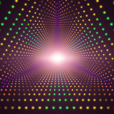 starfield: Vector infinite triangular tunnel of shining flares on dark background. Glowing points form tunnel sectors. Abstract cyber colorful background for your designs. Elegant modern geometric wallpaper.