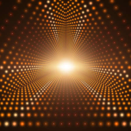 starfield: Vector infinite triangular tunnel of shining flares on dark brown background. Glowing points form tunnel sectors. Abstract cyber colorful background for your design. Elegant modern geometric wallpaper