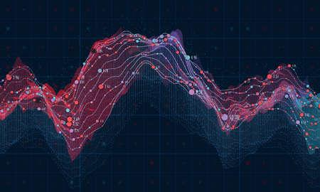 Grande visualisation des données. Infographie futuriste. Conception esthétique d'information. Complexité des données visuelles. Affichage graphique complexe de la visualisation graphique. Représentation du réseau social. Graphique de données abstrait.