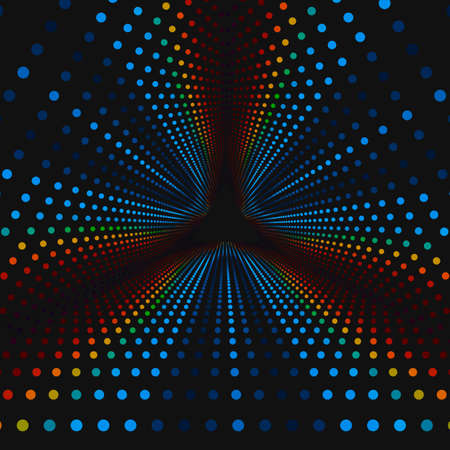 Vector infinite triangular tunnel of colorful circles on dark background. Spheres form tunnel sectors. Abstract cyber colorful background for your designs. Elegant modern geometric wallpaper.