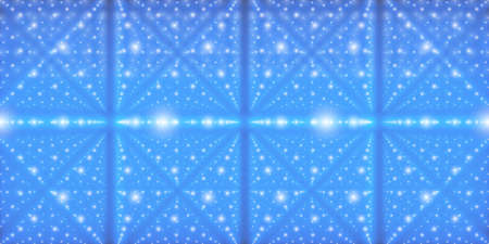 starfield: Vector infinite space background. Matrix of glowing stars with illusion of depth and perspective. Geometric backdrop with point array as lattice nodes. Abstract futuristic universe on blue background.