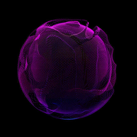 Abstract vector violet colorful mesh sphere on dark background. Futuristic style card. Elegant background for business presentations. Corrupted point sphere. Chaos aesthetics. Illustration