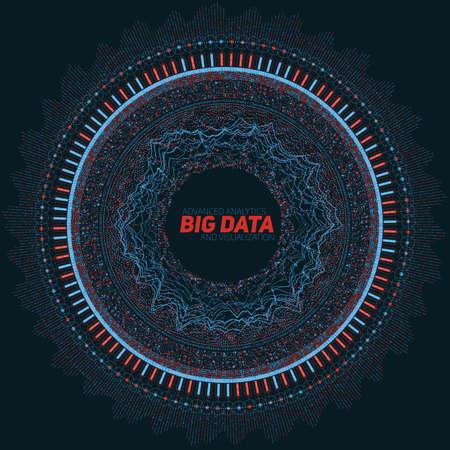 Big data circulaire visualisatie. Futuristische infographic. Informatie esthetisch ontwerp. Visuele gegevenscomplexiteit. Complexe gegevensdraden grafische visualisatie. Sociale netwerkweergave. Abstracte grafiek