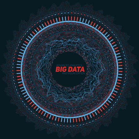 Big data circular visualization. Futuristic infographic. Information aesthetic design. Visual data complexity. Complex data threads graphic visualization. Social network representation. Abstract graph Ilustracja