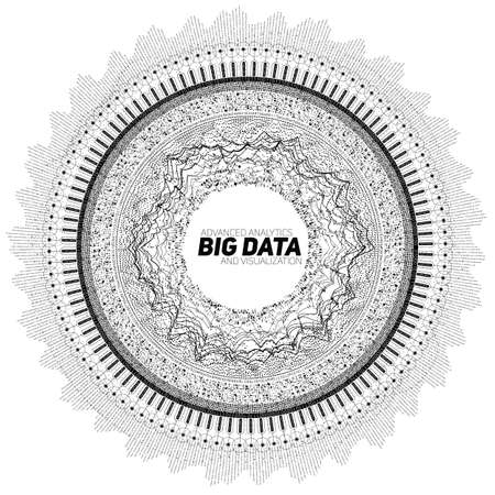 Big data circular grayscale visualization. Futuristic infographic. Information aesthetic design. Visual data complexity. Complex data threads graphic. Social network representation. Abstract graph