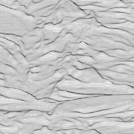 Vector striped grayscale background. Abstract line waves. Sound wave oscillation. Funky curled lines.