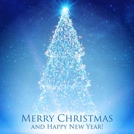 Shining christmas trees on colorful blue background with backlight and glowing particles. Illustration