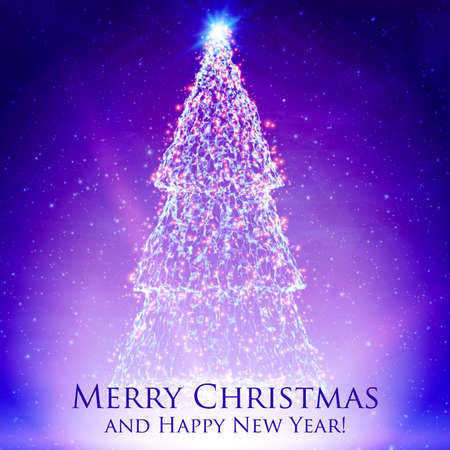 Shining christmas trees on colorful violet background with backlight and glowing particles. Abstract vector background. Glowing fir-tree. Elegant shining background for you design. Illustration