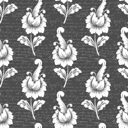 old backgrounds: Vector flower seamless pattern background with ancient text. Elegant texture for backgrounds. Classical luxury old fashioned floral ornament, seamless texture for wallpapers, textile, wrapping.