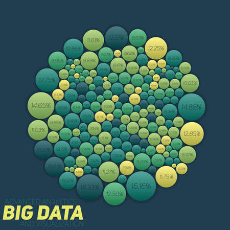 Circular big data colorful visualization. Futuristic infographic. Information aesthetic design. Visual data complexity.
