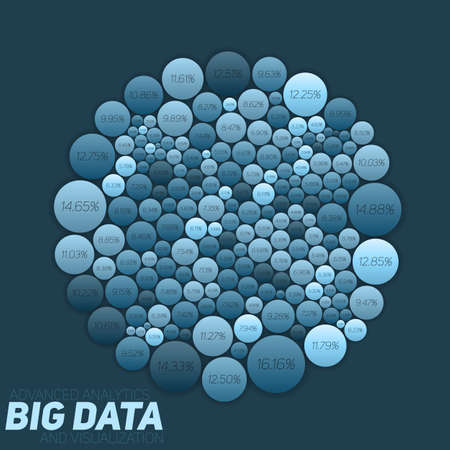 Circular big data blue visualization. Futuristic infographic. Information aesthetic design. Visual data complexity. Complex data threads graphic. Social network representation. Abstract data graph