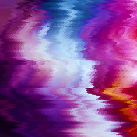 Vector glitch achtergrond. Vervorming van digitale beeldgegevens. Kleurrijke abstracte achtergrond voor uw ontwerpen. Chaos-esthetiek van signaalfouten. Digitaal verval. Vector Illustratie