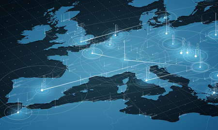 Europa mappa blu grande visualizzazione dei dati. Infografica futuristica. Estetica dell'informazione. Complessità dei dati visivi. Visualizzazione grafica complessa europea. Dati astratti sul grafico della mappa.