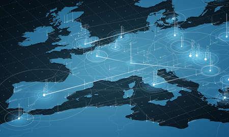 Visualización de grandes datos del mapa azul de Europa. Infografía de mapa futurista. Estética de la información. Complejidad de datos visuales. Visualización gráfica de datos complejos de Europa. Resumen de datos en el gráfico del mapa.