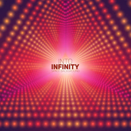 starfield: Vector infinite triangular tunnel of shining flares on background. Glowing points form tunnel sectors. Abstract cyber colorful background for your designs. Elegant modern geometric wallpaper. Illustration