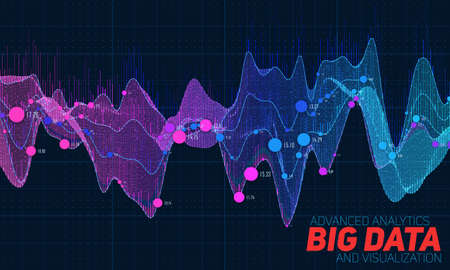 Big data colorful visualization. Futuristic infographic. Information aesthetic design. Visual data complexity. Complex data threads graphic visualization. Social network representation. Abstract graph