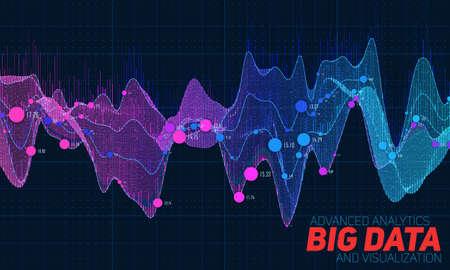 Grote data kleurrijke visualisatie. Futuristische infographic. Informatie-esthetisch ontwerp. Visuele data complexiteit. Complexe gegevensdraden grafische visualisatie. Sociale netwerk vertegenwoordiging. Abstracte grafiek Stock Illustratie