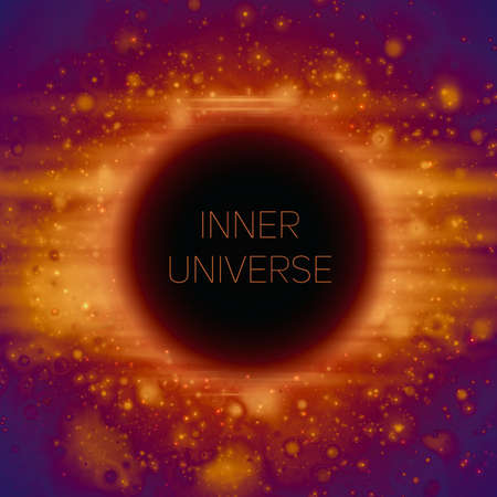Zusammenfassung Vektor Hintergrund der seltsamen Black Hole im Raum. Leuchtende Sterne fallen in die Dunkelheit. Scheine von fremden Sternen. Inneres Universum oder subatomare Welt Illustration. Vektorgrafik