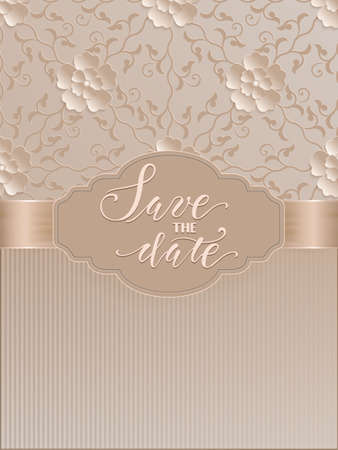 Vector invitation, cards or wedding card with damask background and elegant floral elements. Arabesque style design. Elegant floral abstract ornaments. Design element. eps10