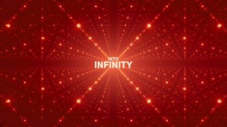 Vector oneindige ruimteachtergrond. Matrix van gloeiende sterren met illusie van diepte, perspectief. Geometrische achtergrond met puntarray als rooster. Abstract futuristisch universum op rode achtergrond.