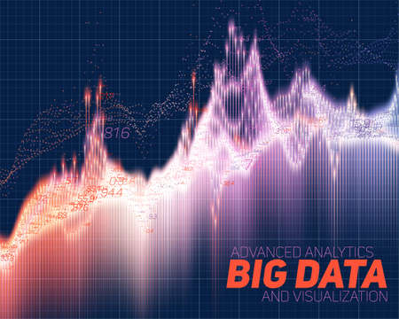 big screen: Vector abstract big data visualization. Futuristic infographics aesthetic design. Visual information complexity. Intricate data threads graphic. Social network or business analytics representation.