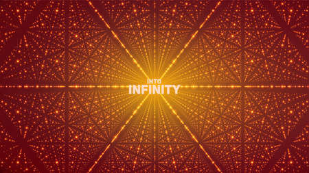 starfield: Vector infinite space background. Matrix of glowing stars with illusion of depth, perspective. Geometric backdrop with point array as lattice. Abstract futuristic universe on orange background.