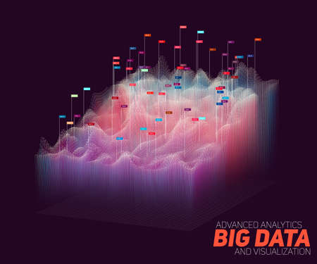 Vector abstract colorful big data visualization. Futuristic infographics aesthetic design. Visual information complexity. Intricate data threads graphic. Social network or business analytics. Illustration