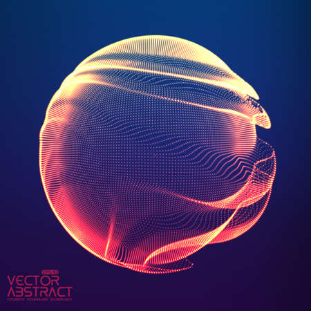 Abstract vector colorful mesh sphere on dark blue background. Futuristic style card. Elegant background for business presentations. Corrupted point sphere. Chaos aesthetics.