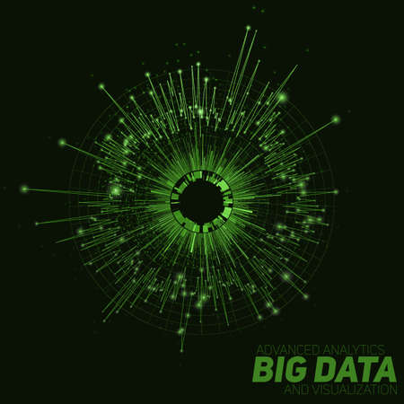 Vector abstract green round big data visualization. Futuristic infographics design. Visual information complexity. Intricate data threads graphic. Social network or business analytics representation.
