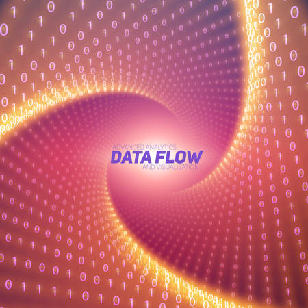 Vector data flow visualization. Red flow of big data as binary numbers strings twisted in tunnel. Information code representation. Cryptographic analysis. Bitcoin blockchain transfer. Stream of code Illustration