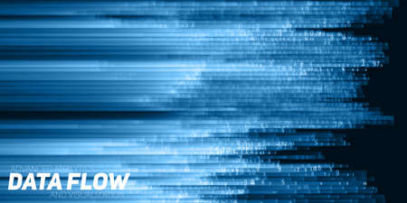 Vector abstract big data visualization. Blue flow of data as numbers strings. Information code representation. Cryptographic analysis. Bitcoin, blockchain transfer. Stream of encoded data. 일러스트