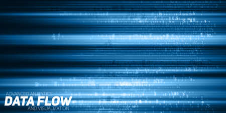 Vector abstract big data visualization. Blue flow of data as numbers strings. Information code representation. Cryptographic analysis. Bitcoin, blockchain transfer. Stream of encoded data. Illustration