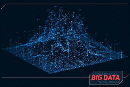 Vector abstracte 3D big data-visualisatie. Futuristisch infographics esthetisch ontwerp. Visuele informatiecomplexiteit. Ingewikkelde datadradenafbeelding. Sociale netwerk- of bedrijfsanalyse representatie