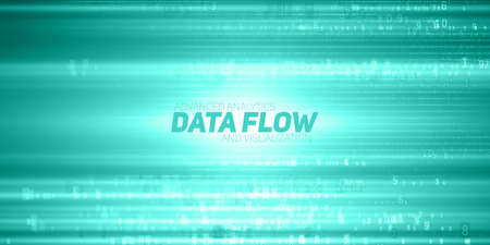 Vector abstract big data visualization. Green flow of data as numbers strings. Information code representation. Cryptographic analysis. Bitcoin, blockchain transfer. Stream of encoded data.
