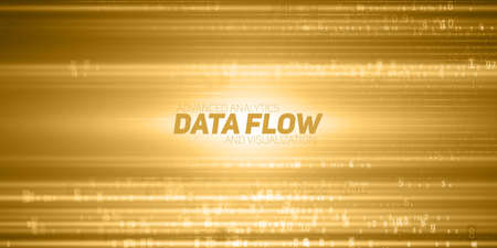 Vector abstract big data visualization. Yellow flow of data as numbers strings. Information code representation. Cryptographic analysis. Bitcoin, blockchain transfer. Stream of encoded data. Illustration